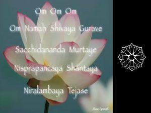 gopia-yoga-in-schwaebisch-hall - das Bild zeigt eine Lotusblüte mit Textauszügen aus dem Anusara-Mantra und das Logo von Gopika