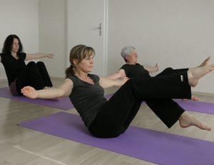 gopika-yoga-in-schwäbisch-hall - das Bild zeigt Michaela Langer mit ihrer Yogaklasse beim Üben.