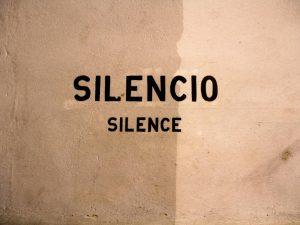 Das Bild zeigt den Schriftzug Silence
